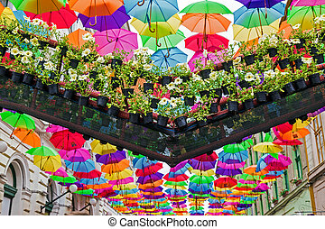 Street decorated with colored umbrellas 1
