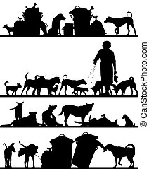 Set of editable vector foreground silhouettes of street dogs in Bangkok with all figures as separate objects