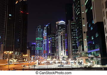 Street downtown in Doha at night. Qatar, Middle East