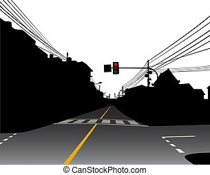Editable vector illustration of a red traffic light over a dark and empty street