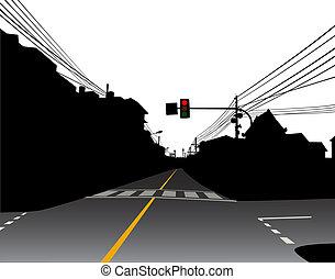 Street - Editable vector illustration of a red traffic light...
