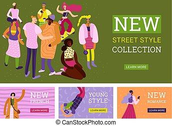 Street Fashion Banners Set