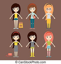 Street fashion girls models wear style fashionable stylish woman characters clothes looks vector illustration