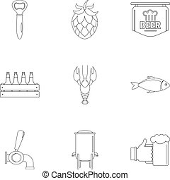 Street fast food icons set, outline style