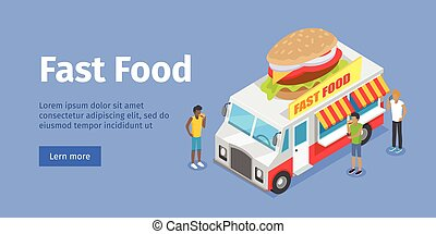 Street Fast Food Isometric Vector Concept