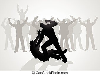 Street Fight - Silhouette illustration of men fighting being...