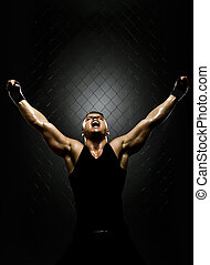 street fighter - vertrical photo muscular young guy...