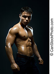 street fighter - vertical photo muscular young guy street-...