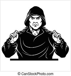 Street fighter with a chain. Thug - Ghetto Warrior. Vector ...