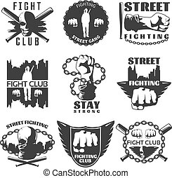 Street Fighting Black White Labels