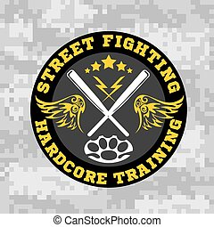 Street fighting emblem with baseball bats on camouflage...