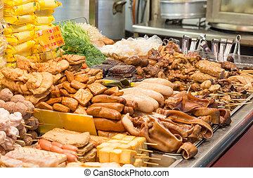Street food at a night market in Taipei
