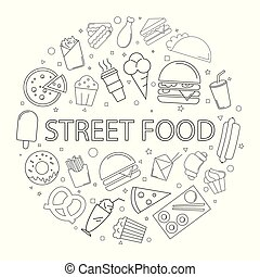 Street food background from line icon.