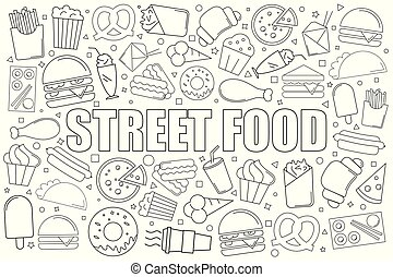 Street food background from line icon. Linear vector pattern.