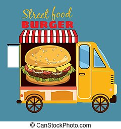 Street food car, delicious juicy burger with ingredients, in package, vector, illustration