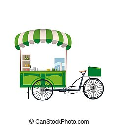 Street food cart, bike cafe stall with stuff concept vector illustration, template, flat cartoon design style isolated