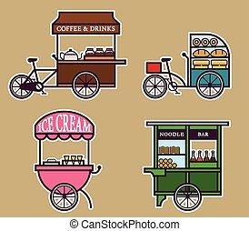 Street Food Cart Bold Outline