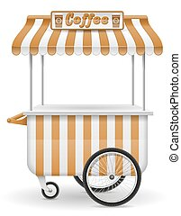 street food cart coffee vector illustration
