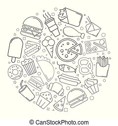 Street food circle background from line icon. Linear vector pattern.