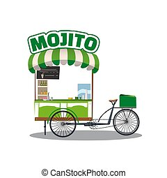 Street food cocktails Mojito drink cart. Fast food delivery beverages. Fast food cart green color on a white background. Cartoon style, vector, isolated