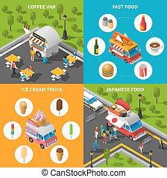 Street Food Concept Icons Set