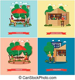 Street food concept vector posters. People sell from stalls. Restaurant summer terrace under umbrella