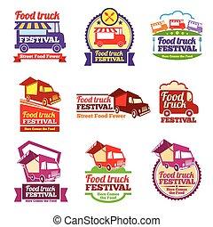 Street food festival color labels vector set