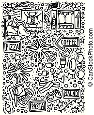 Street food festival doodle style hand drawn concept.