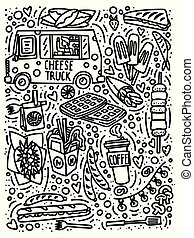 Street food festival doodle style hand drawn concept with truck, ice-cream, franch fries, barbecue, coffee to go etc.