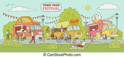 Street food festival - ice cream truck, pizza vendor car, hot dog stand