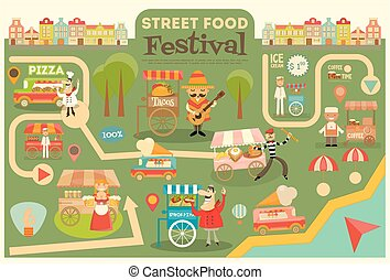 Street Food Festival on City Map. Food carts on Infographic...
