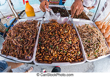 street food - Fried insects, Bugs fried on Street food in...