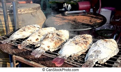 street food, grilled fish