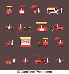 Street food icon flat - Street fast food icon flat set with...