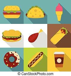 Street food icon set, flat style