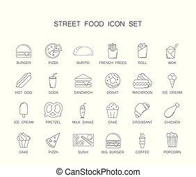 Street food icon set.