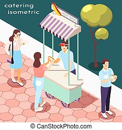Street Food Isometric Composition