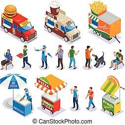 Street Food Isometric Icons