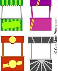 Street food kiosk. Food cart stalls, kiosk icon set