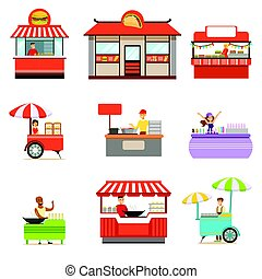 Street Food Kiosk Set On Wheels And Without With Smiling Vendor Serving Fast Food Vector Illustrations