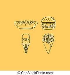 Street Food Line - Street food illustration
