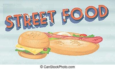 Street food poster vintange style