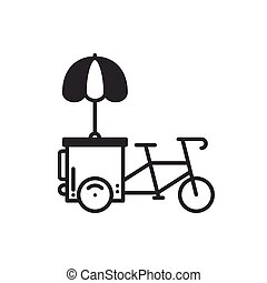 Street food retail thin line icon. Tricycle trade cart. Fast...