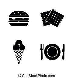 Street Food. Simple Related Vector Icons