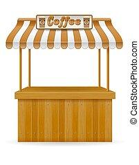 street food stall coffee vector illustration