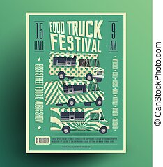 Street Food Truck Festival Poster Flyer Template. Vector Illustration.