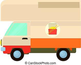 Street food truck icon, cartoon style
