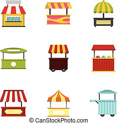 Street food truck icon set, flat style