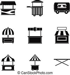 Street food truck icon set, simple style