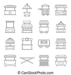 Street food truck icons set. Outline illustration of 16 street food truck vector icons for web